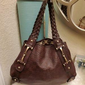 Gucci Guccissima Brown Leather Pelham Shoulder bag